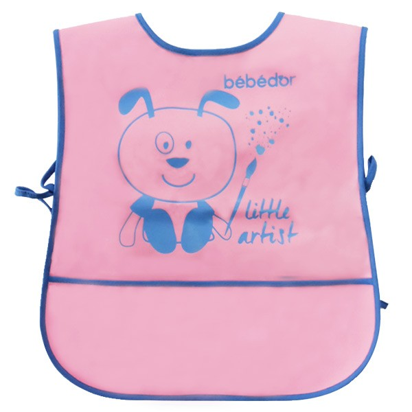 Baveta tip vesta Bebe D`Or cu buzunar roz albastru