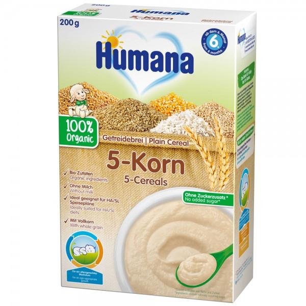 Cereale Humana fara lapte organic cu 5 cereale de la 6 luni 200 g