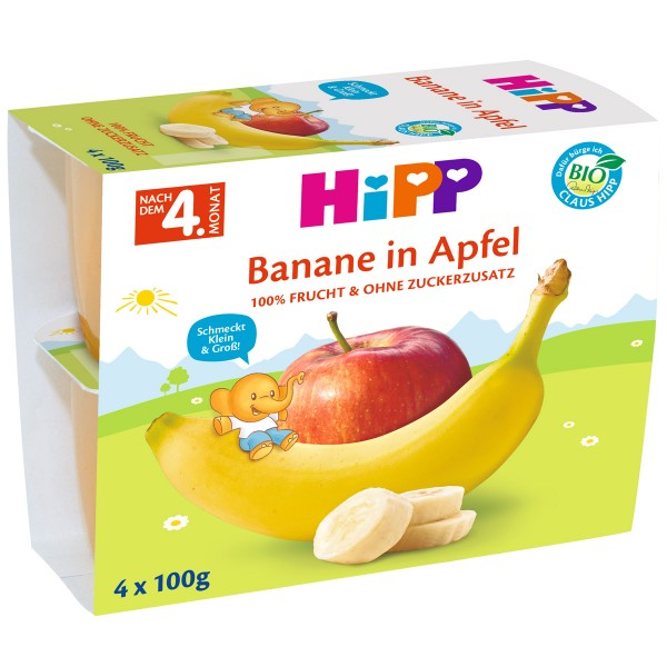 Gustare cu fructe Hipp banane si mere de la 4 luni 4 x 100 g