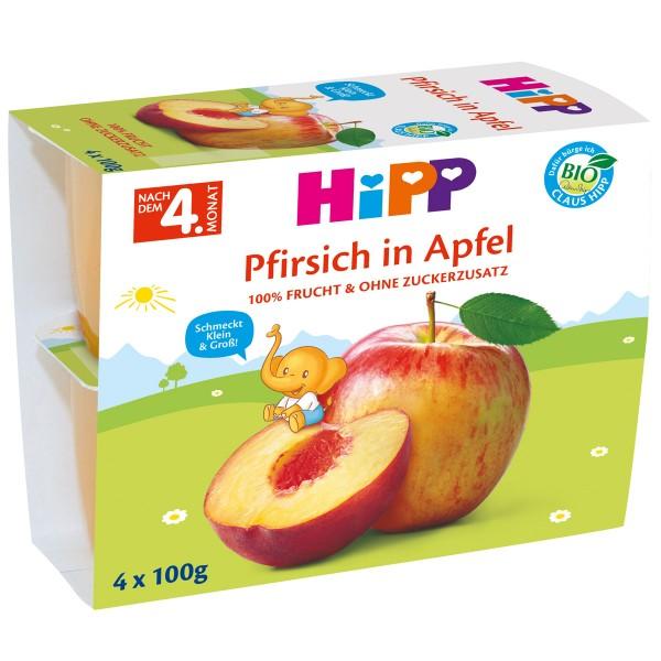 Gustare cu fructe Hipp mere si piersici de la 4 luni 4 x 100 g
