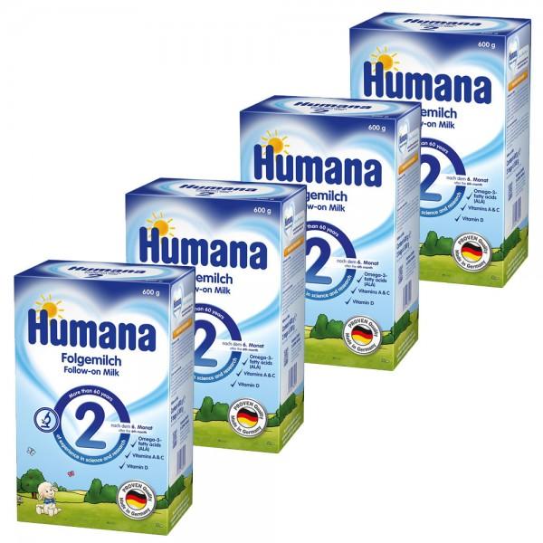 Pachet lapte praf Humana 2 de la 6 luni, 4 x 600 g