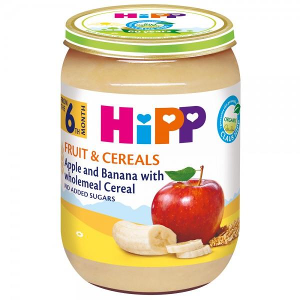 Piure fructe si cereale Hipp mere si banane de la 6 luni 190 g