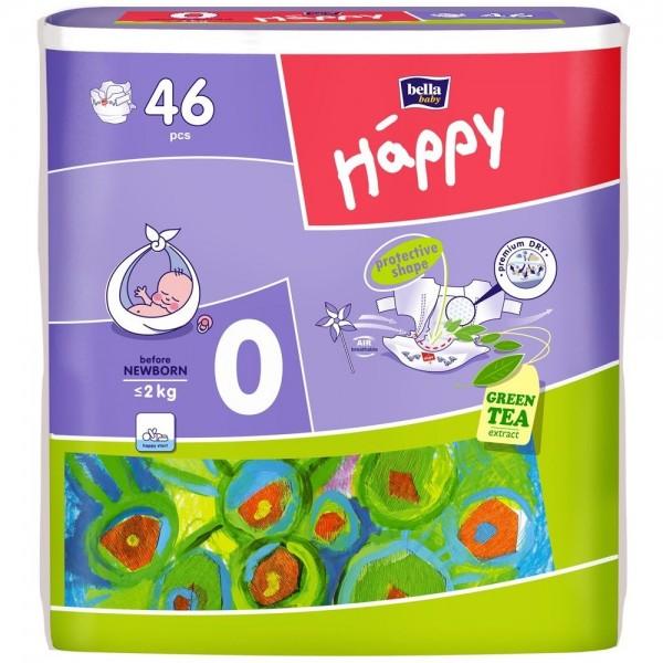 Scutece Happy 0 before new born 46 buc pentru <2 kg