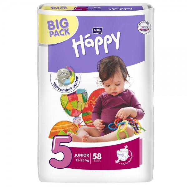 Scutece Happy 5 big pack junior 58 buc pentru 12-25 kg