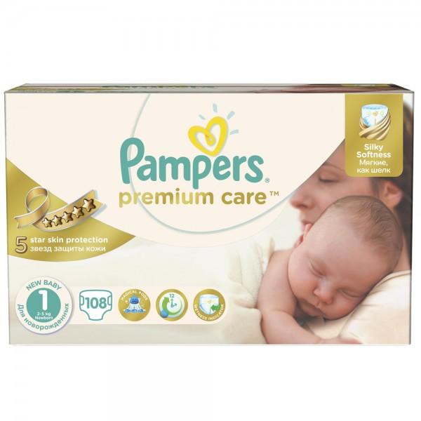 Scutece Pampers premium care 1 nou nascut jumbo pack 108 buc pentru 2-5 kg