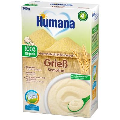 Cereale Humana fara lapte organic cu gris de la 4 luni 200 g