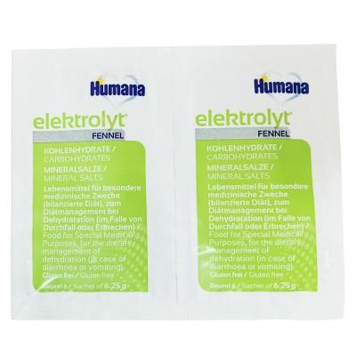 Humana Elektrolyt pentru rehidratare orala cu fenicul de la nastere folie cu 2 plicuri * 6,25 g