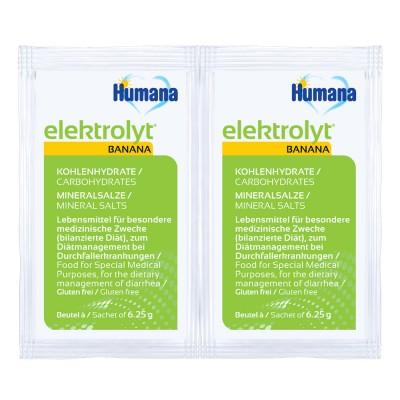 Humana Elektrolyt pentru rehidratare orala cu gust de banane de la 1 an folie cu 2 plicuri * 6,25 g