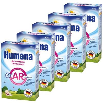 Pachet lapte praf Humana AR antireflux de la nastere, 5 x 400 g
