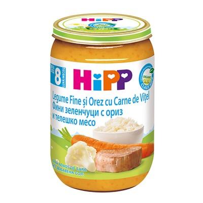 Meniu Hipp legume fine si orez cu carne de vitel de la 8 luni 220 g