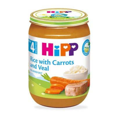 Meniu Hipp orez si morcovi cu carne de vitel de la 4 luni 190 g