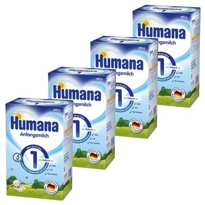 Pachet lapte praf Humana 1 de la nastere, 4 x 600 g