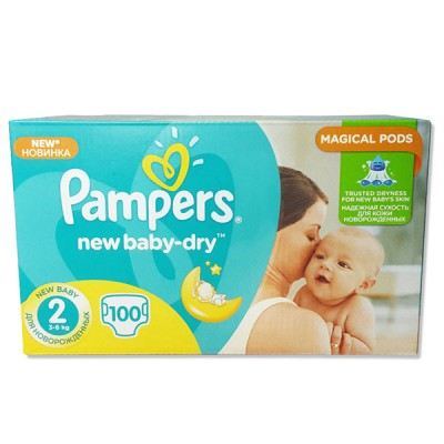 Scutece Pampers new baby-dry 2 mini 100 buc intre 3-6 kg