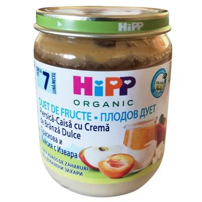 Piure de fructe Hipp Duet piersica-caise cu crema de branza dulce de la 7 luni 160 g