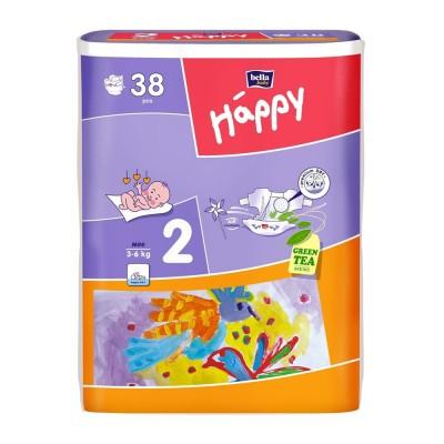 Scutece Happy 2 mini 38 buc pentru 3-6 kg