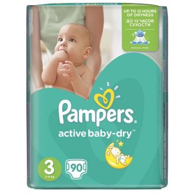Scutece Pampers active baby-dry 3 midi giant pack 90 buc pentru 5-9 kg