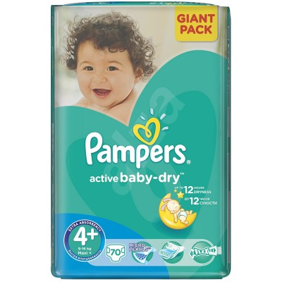 Scutece Pampers active baby-dry 4+ maxi plus giant pack 70 buc pentru 9-16 kg