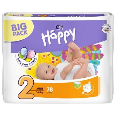 Scutece Happy 2 big pack mini 78 buc pentru 3-6 kg