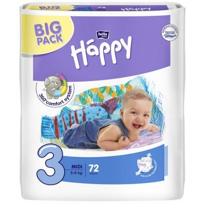 Scutece Happy 3 big pack midi 72 buc pentru 5-9 kg