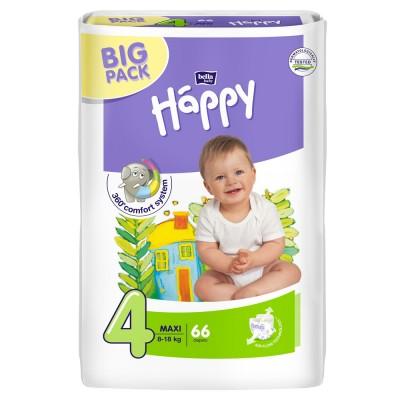 Scutece Happy 4 big pack maxi 66 buc pentru 8-18 kg