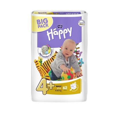 Scutece Happy 4+ big pack maxi plus 62 buc pentru 9-20 kg